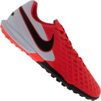 Chuteira Society Nike Tiempo Legend 8 Pro Tf - Adulto - Coral/Preto