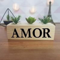 Cubo Decorativo Com Suculenta E Letras Em Acrílico Amor