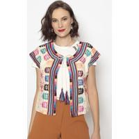 Blusa Com Bordados & Amarração- Bege & Rosa- Cotton Cotton Colors Extra
