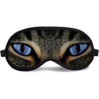 Máscara De Dormir Tritengo Olhos De Gato - Unissex-Azul+Cinza