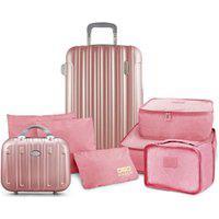 Conjunto De Mala E Frasqueira De Viagem Trip Prata Com Kit Organizador De Malas De 6 Peças Jacki Design Rosa