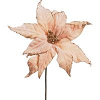 Flor Natalina Artificial Poinsettia Cabo Médio 45Cm Rosa 1Pç