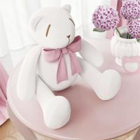 Urso Branco Laço Rosa 25Cm Grão De Gente Rosa