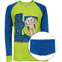 Conjunto Camiseta Manga Longa Proteção Solar Uv E Sunga Turma Da Mônica Cebolinha Boia - Infantil - Verde Cla/Azul Esc