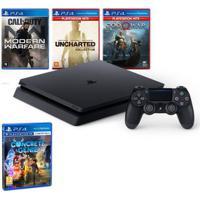 Kit Com Console - Playstation 4 - Slim Bundle Hits V7 - 1Tb Com 5 Jogos + Jogo Concrete Genie - Sony