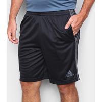 Short Adidas 3 Listras Masculino - Masculino-Preto+Prata