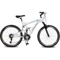 Bicicleta Kyklos Aro 26 Caballu 7.8 Suspensáo Full Baixa A-36 21V Branco/Azul - Tricae