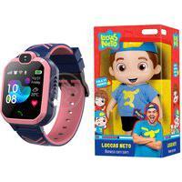 Kit Infantil Criança 1 Boneco Luccas Neto Articulado + 1 Smartwatch Relógio Inteligente Q12 Rosa