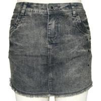 Mini Saia Plus Size Jeans Black Com Pedraria - Feminino-Preto