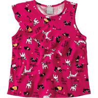 Blusa Cachorrinhos Com Babados Primeiros - Pink & Preta