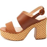 Sandália Plataforma Ferrucci Feminino - Feminino-Caramelo