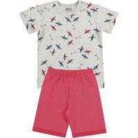 Conjunto De Camiseta Caiaque + Bermuda- Cinza Claro & Vekamylu'S