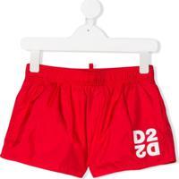 Dsquared2 Kids Short De Natação Com Logo D2 - Vermelho