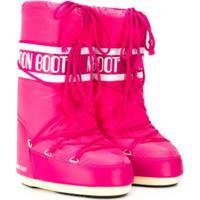Moon Boot Kids Bota Com Cadarço E Logo - Rosa