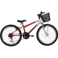 Bicicleta Aro 24 Mtb 18 Marchas Model Feminina Com Cestão Vermelha Athor Bikes