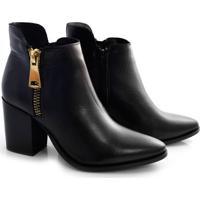 Ankle Boots De Couro E Salto Bloco Suzzara
