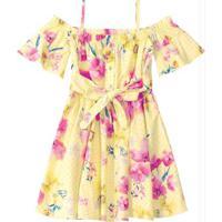 Vestido Amarelo Evasê Floral