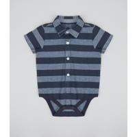 65eeaa2a43 Composição  100% Algodão. CEA  Body Camisa Infantil Listrado Manga Curta  Azul