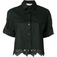 Twin-Set Camisa Com Detalhe De Renda - Preto