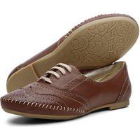 Sapato Casual Oxford Q & A Feminino Couro Chocolate