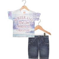 0403444c6 Conjunto Marisol Surfer Life Infantil Branco Azul