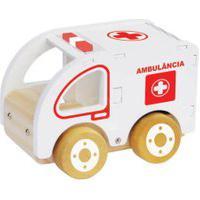 Carrinho De Madeira Newart Toys Coleção Carrinhos - Ambulância - Branco