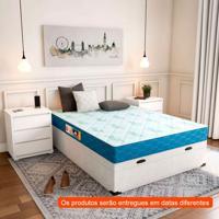Cama Box Casal Premium Com Baú Corino Branco Com Colchão Sleep Max D45 Branco