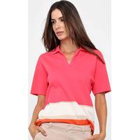 Camisa Polo Lacoste Listras Feminina - Feminino-Rosa