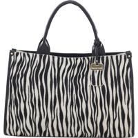 Bolsa Couro Alça De Mão Grande Zebra/Preto/Marfim Smartbag - 76095