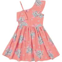 Vestido Infantil Flores E Babados Rosa - Fakini