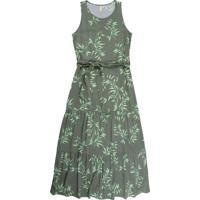 Vestido Longo Sem Manga Com Estampa Floral Verde