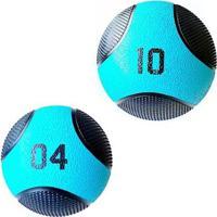 Kit 2 Medicine Ball Liveup Pro 4 E 10 Kg Bola De Peso Treino Funcional - Unissex