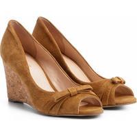 Peep Toe Couro Shoetock Anabela Laço - Feminino