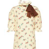 Miu Miu Blusa Com Estampa Floral E Detalhe De Laço - Neutro