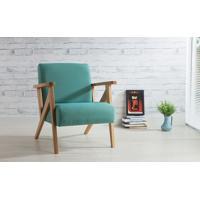 Poltrona Moderna De Madeira Com Pés Palito Estofada E Com Braços Azul Turquesa - Verniz Amendoa \ Tec.950 - Anis 72X76X85 Cm
