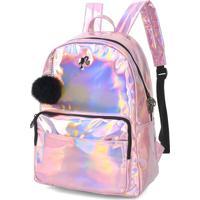 Mochila Escolar Luxcel Holografica Barbie 45822 Rosa