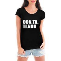Blusa Criativa Urbana Contatinho T-Shirt Feminina - Feminino-Preto
