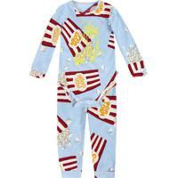 Pijama Pop Corn- Azul Claro & Vermelho- Baby- Pupuc