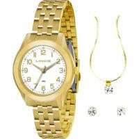 Relógio Lince Lrg4313L K129B2Kx + Colar + Brincos - Feminino-Dourado