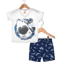 Conjunto 2Pçs Marisol Shark Infantil Branco/Azul