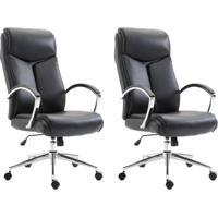 Conjunto Com 2 Cadeiras De Escritório Presidente Evergreen Preto