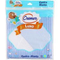 Cueiro De Luxo Azul Para Menino - Xadrez - Cremer