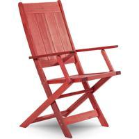 Cadeira Dobrável Gourmet De Madeira Para Piscinas Com Braços Acqualung+ Stain Vermelho