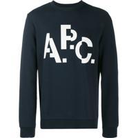 A.P.C. Moletom Decote Careca Com Logo - Azul