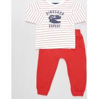 Conjunto Infantil De Camiseta Listrada Dinossauro Manga Longa Branca + Calça Com Bolsos Vermelha