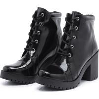 Bota Coturno Retta Shoes Verniz Retta Pr - Preto - Feminino - Dafiti