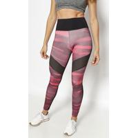 Legging Com Recortes Vazados- Preta & Bordã´- Physicaphysical Fitness