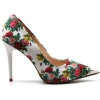 Scarpin Royalz Tecido Penélope Roses Feminino - Feminino-Branco