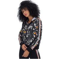 Jaqueta Com Capuz Adidas Farm Print Ht - Feminina - Preto/Branco