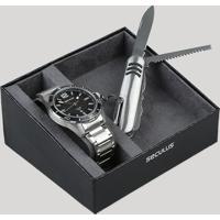 Kit De Relógio Analógico Seculus Masculino + Canivete - 77036G0Svna3K Prateado - Único